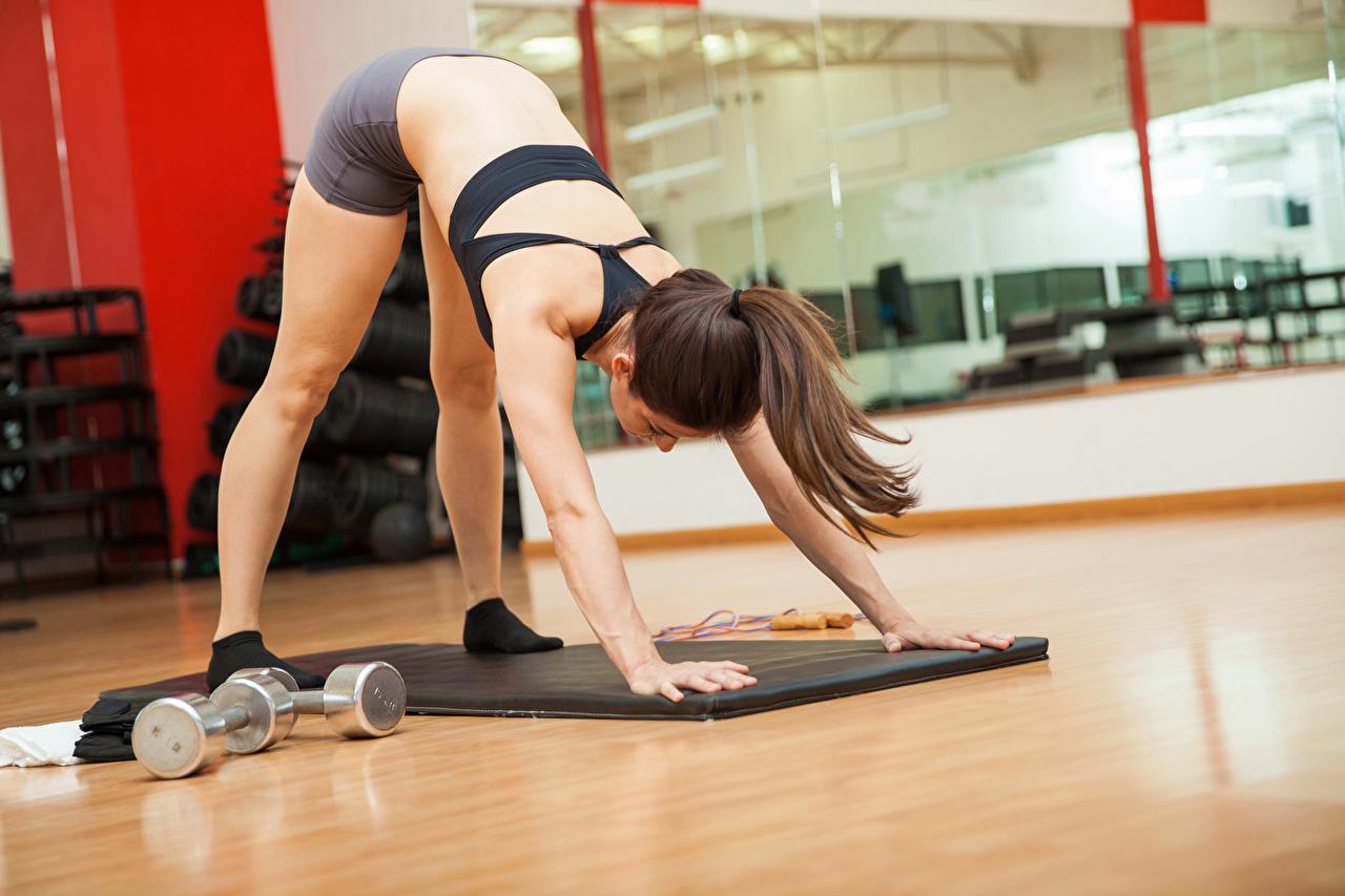 Fotos von Braunhaarige Trainieren Fitness Sport Mädchens Hand Braune Haare Körperliche Aktivität