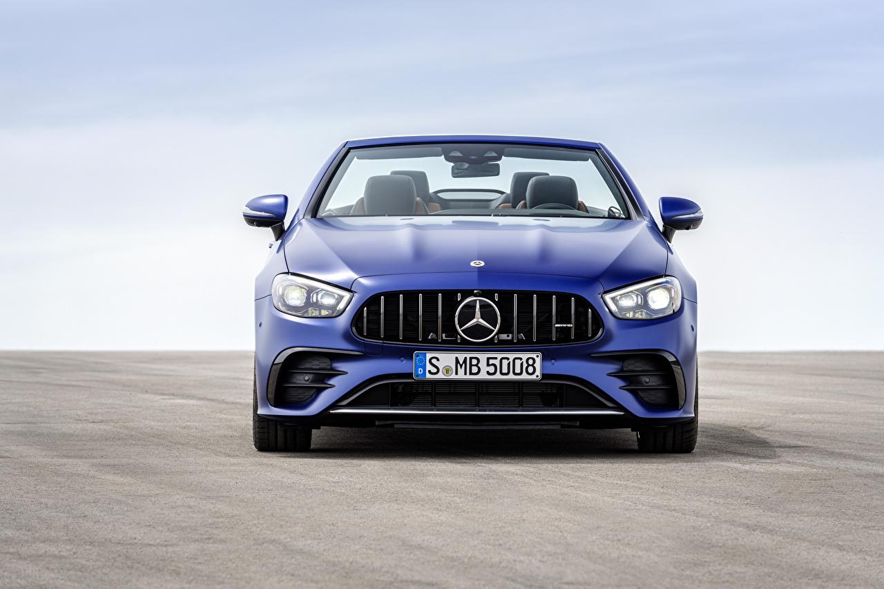 Bilder Mercedes-Benz E 53 4MATIC, Cabrio Worldwide, A238, 2020 Cabriolet Blau auto Vorne Metallisch Autos automobil