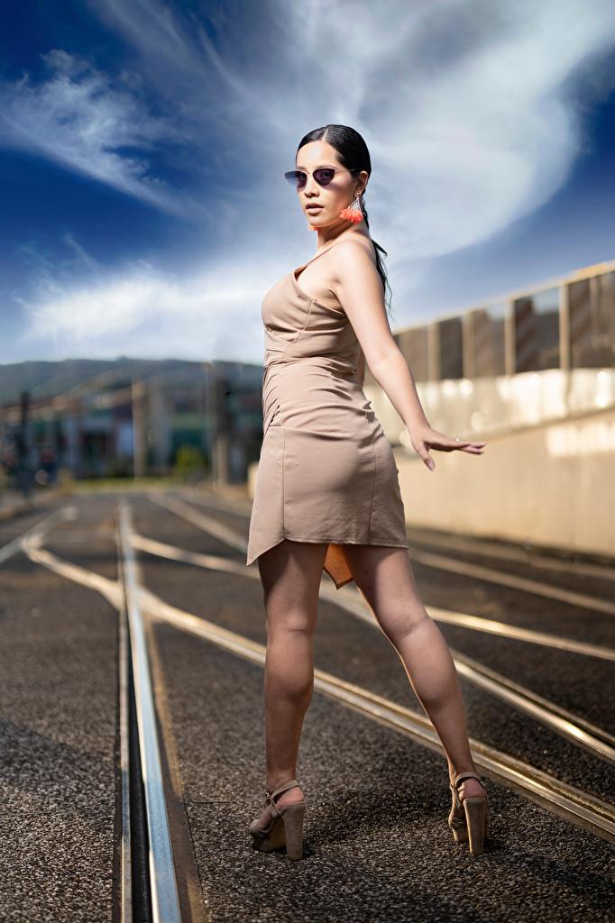 Bilder Brünette Norka Pose junge frau Bein Brille Blick Kleid  für Handy posiert Mädchens junge Frauen Starren