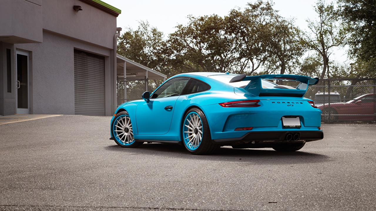 Picture Porsche 911 GT3 Coupe Light Blue Cars Metallic Back view auto automobile