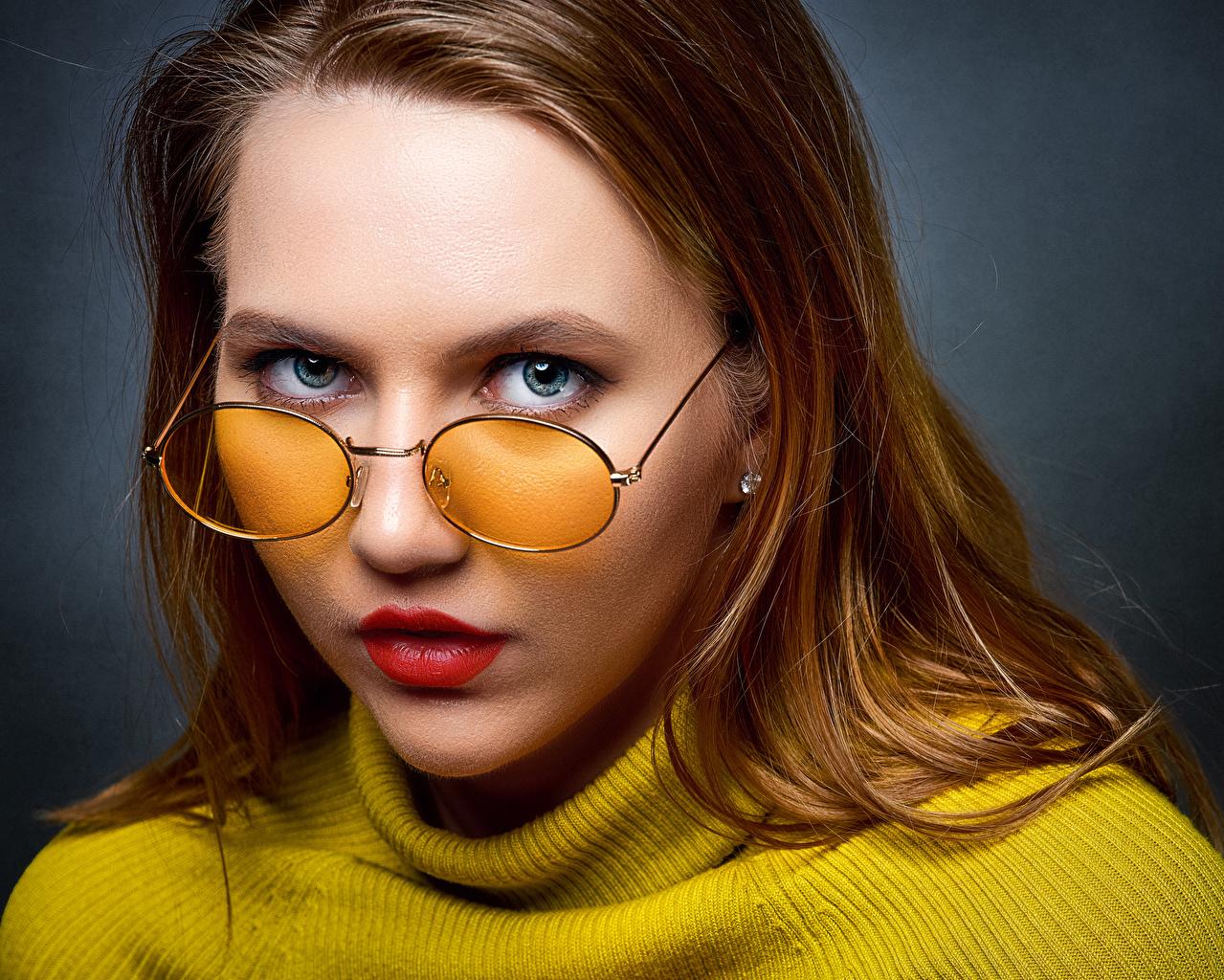 Fotos von Ulya, Nikolay Bobrovsky Gesicht Mädchens Brille Blick junge frau junge Frauen Starren