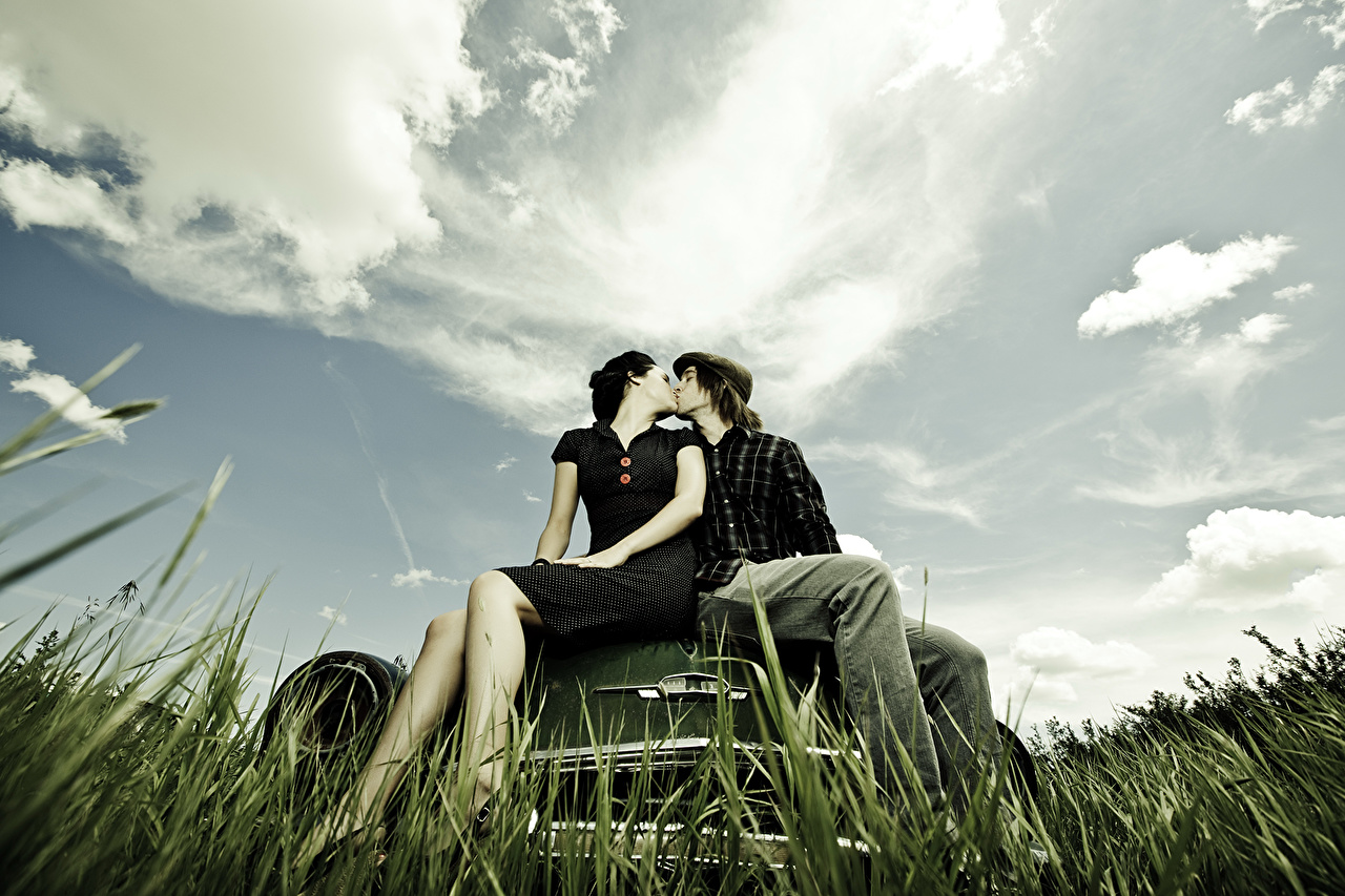 Image Men Couples in love Kiss Nature Sky Fields Grass Clouds Man lovers kisses kissing