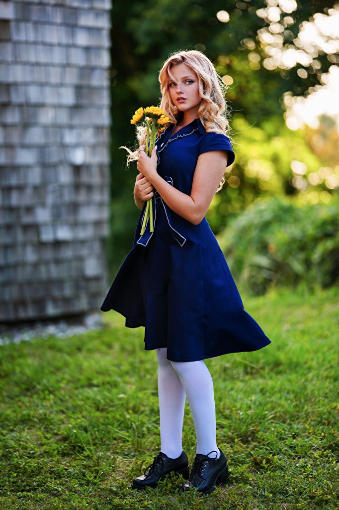Fotos von Blond Mädchen Hannah Sträuße junge Frauen Starren Kleid  für Handy Blondine Blumensträuße Mädchens junge frau Blick