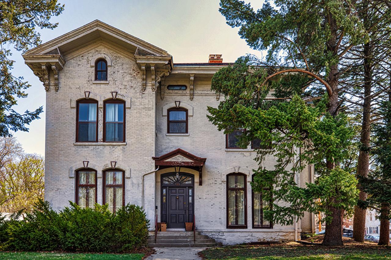 Achtergrond Amerika Franklin Square Historic District, Bloomington, Illinois Herenhuis Bomen gebouw Steden verenigde staten Huizen gebouwen Een boom een stad