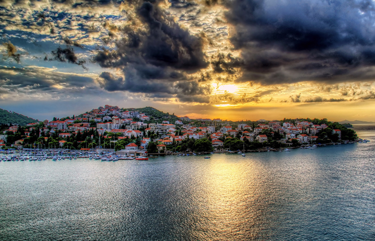 Desktop Wallpapers Cities Croatia Sea Clouds Sky Coast HDR Houses Dubrovnik HDRI Building