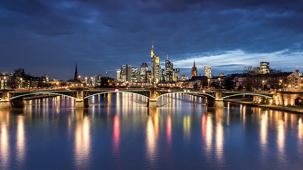 Desktop Wallpapers Frankfurt Germany bridge Rivers night time Street lights Cities Building Bridges river Night Houses
