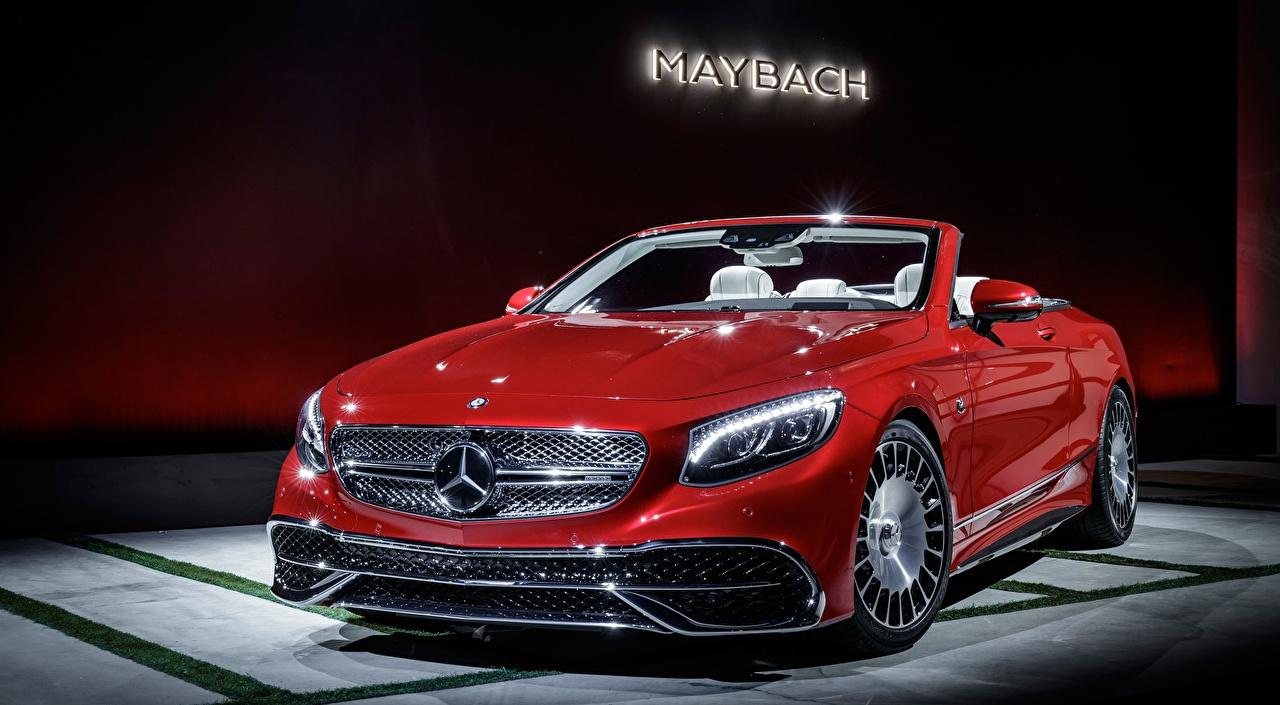 Fotos von Maybach Mercedes-Benz S 650, Cabriolet, 2017 Cabrio Rot Autos Vorne Cabriolet auto automobil