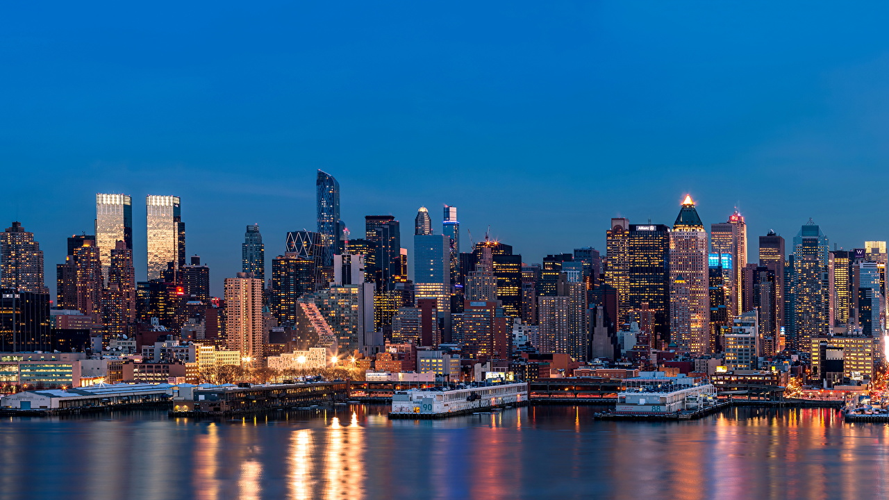 Photos New York City Usa Megalopolis River Marinas Night Time