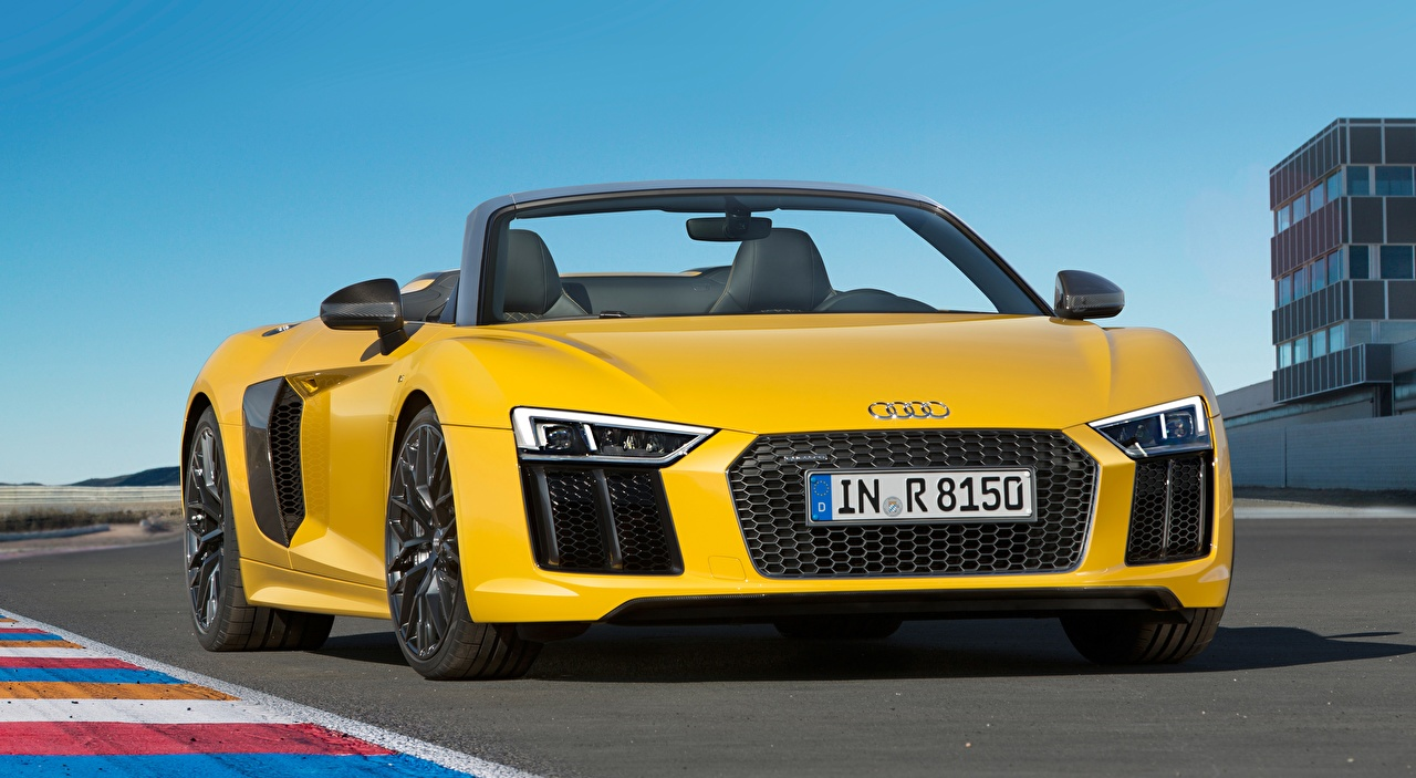 Desktop Wallpapers Audi R8, Spyder, V10, 2016 Roadster Yellow Cars Front auto automobile