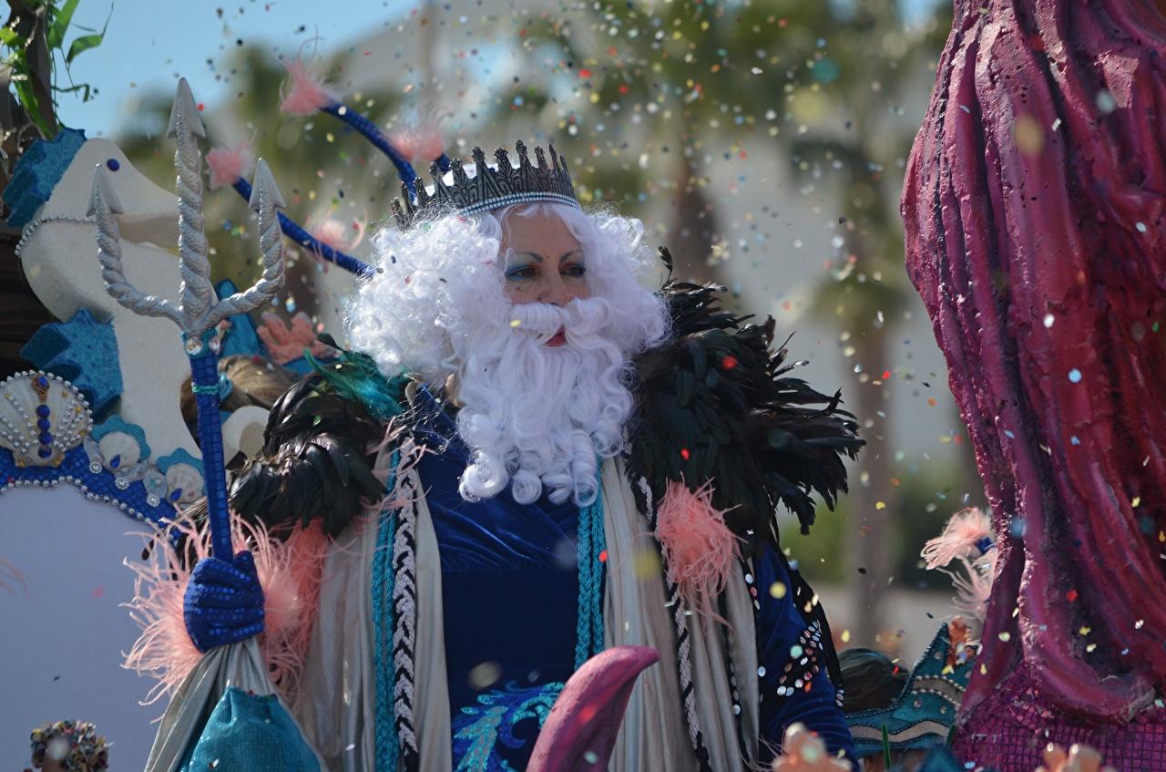 Foto Krone Konfetti Neptune bärte Karneval und Maskerade bärtige Barthaar bärtiger
