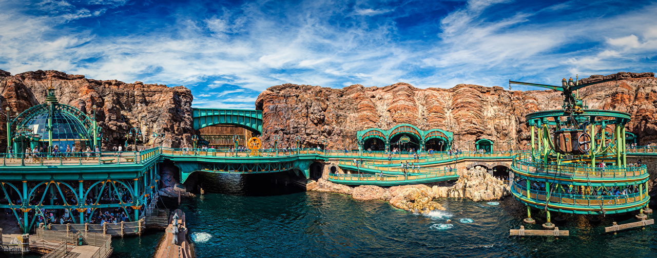 Bilder von Präfektur Tokio Japan Panoramafotografie Disney Sea Natur Kanal Brücke Parks Panorama Brücken Park