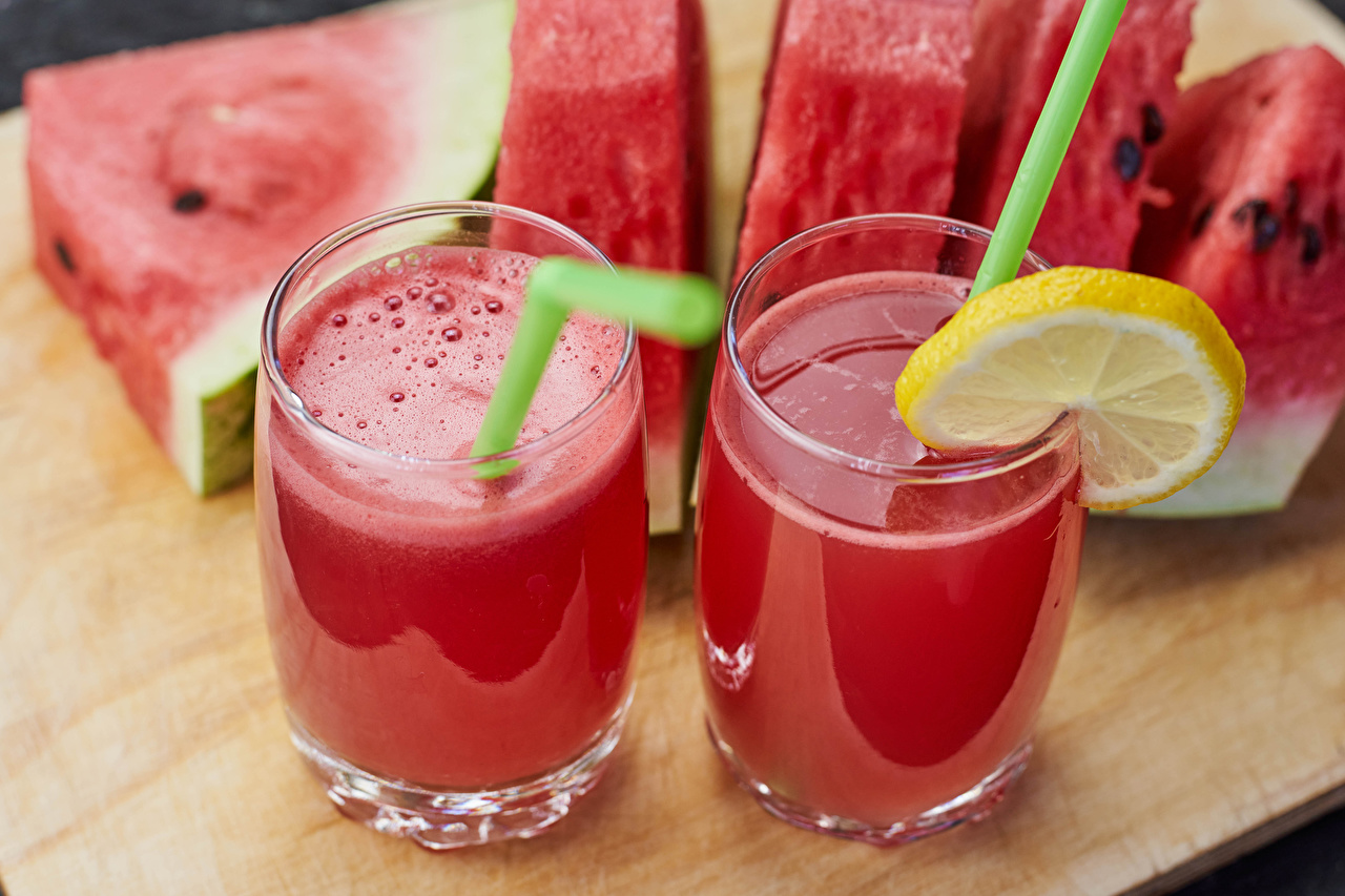 Picture 2 Juice Lemons Watermelons Highball glass Food Two