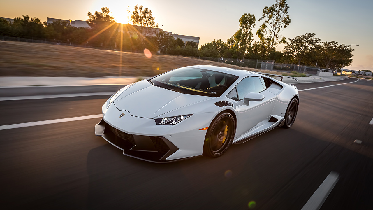 Picture Lamborghini huracan White Motion Cars moving riding driving at speed auto automobile