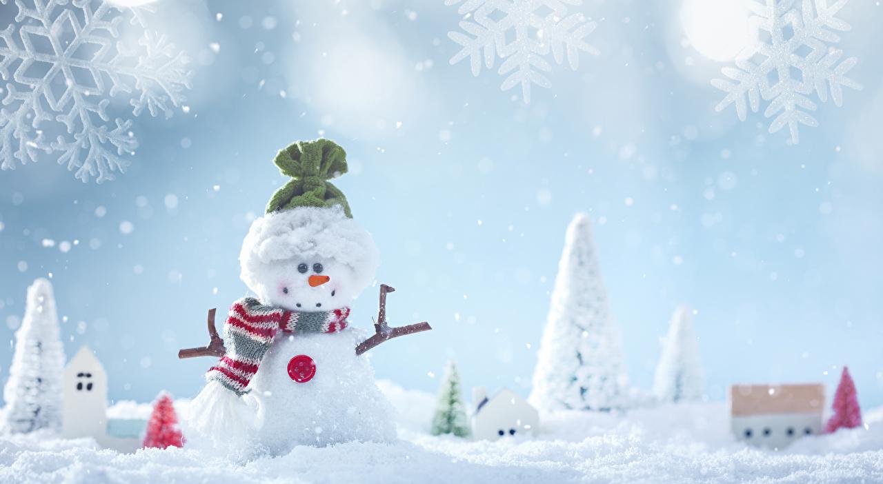 壁紙 冬 雪 雪だるま 雪の結晶 暖かい帽子 スカーフ 襟巻き