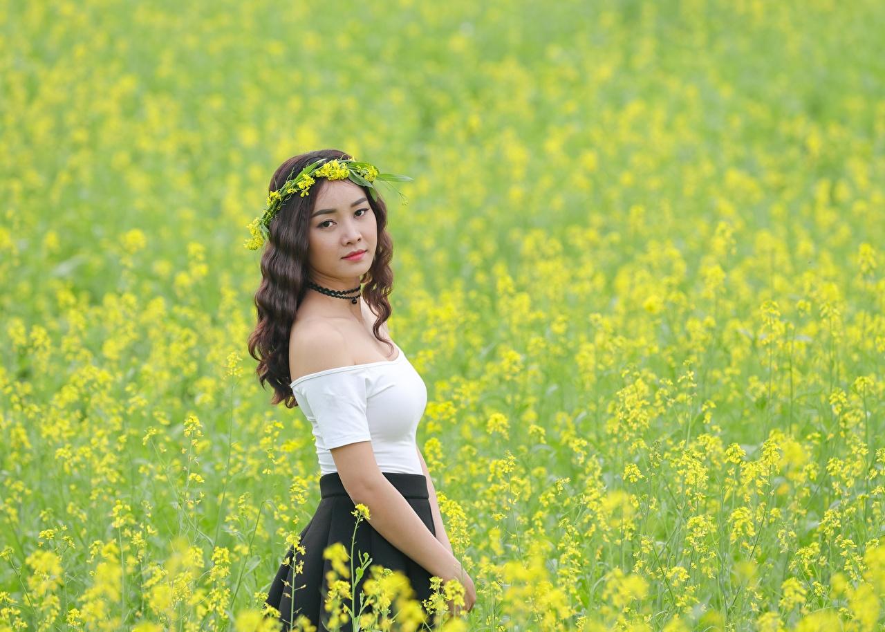 Bilder Raps Kranz Mädchens Acker Asiatische junge frau junge Frauen Felder Asiaten asiatisches