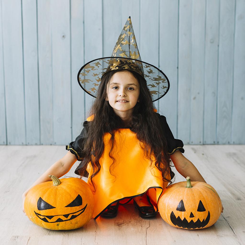 Desktop Wallpapers Little girls Children Hat Pumpkin Halloween Glance child Staring