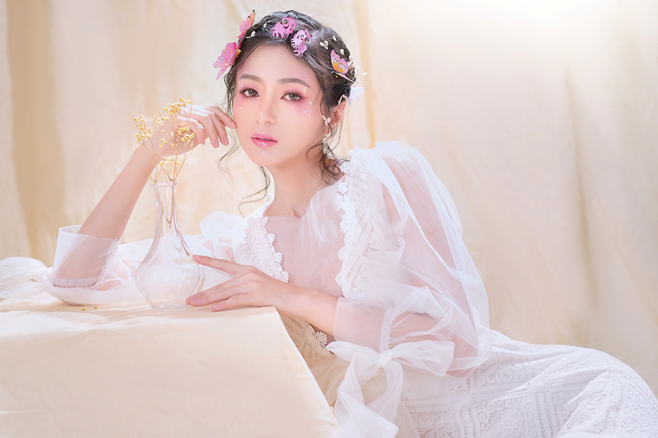 Pictures Butterflies Makeup young woman Asian sit Staring frock butterfly Girls female Asiatic Sitting Glance gown Dress