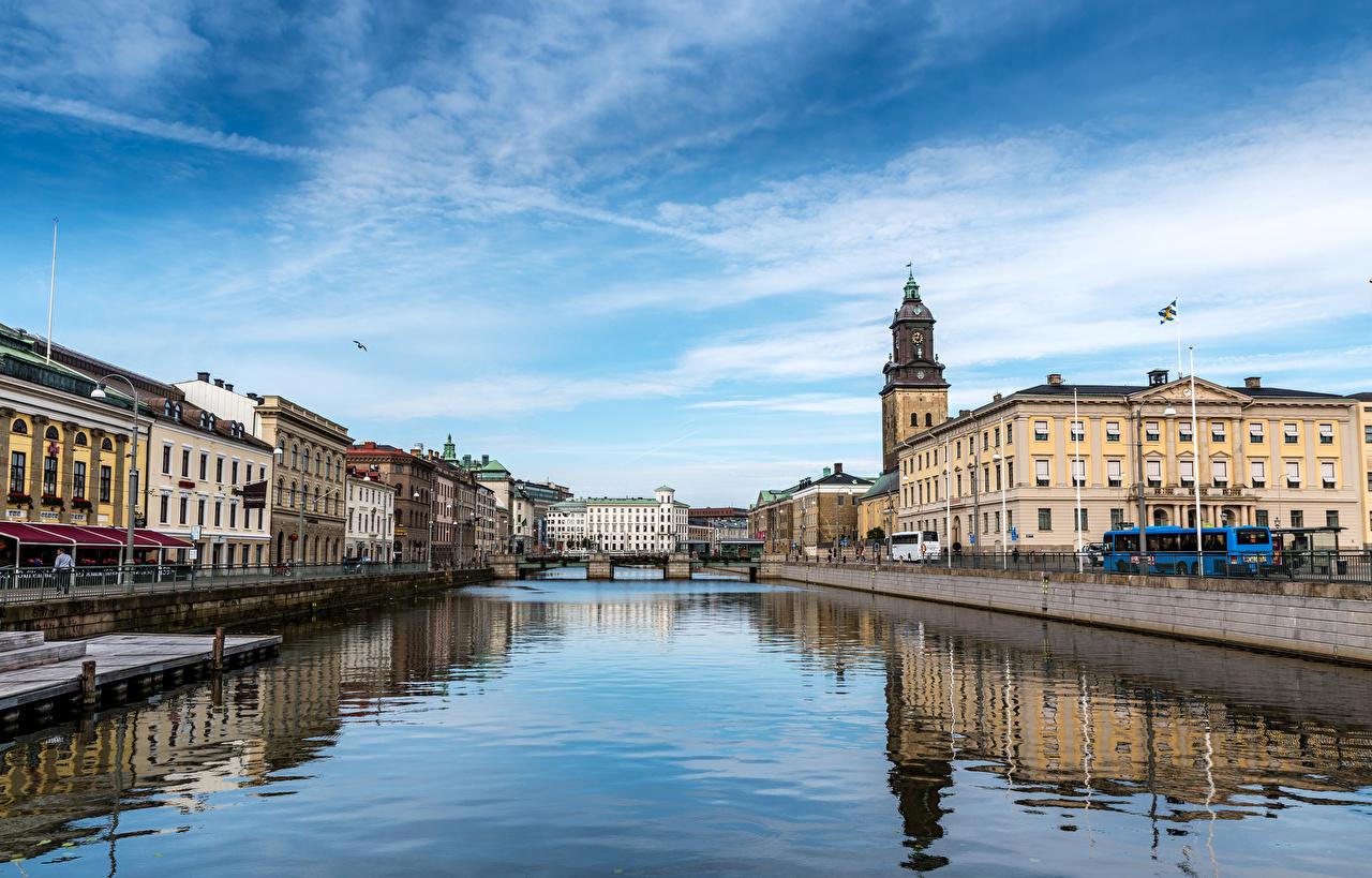 Foto Schweden Gothenburg Brücken Flusse Haus Städte Gebäude
