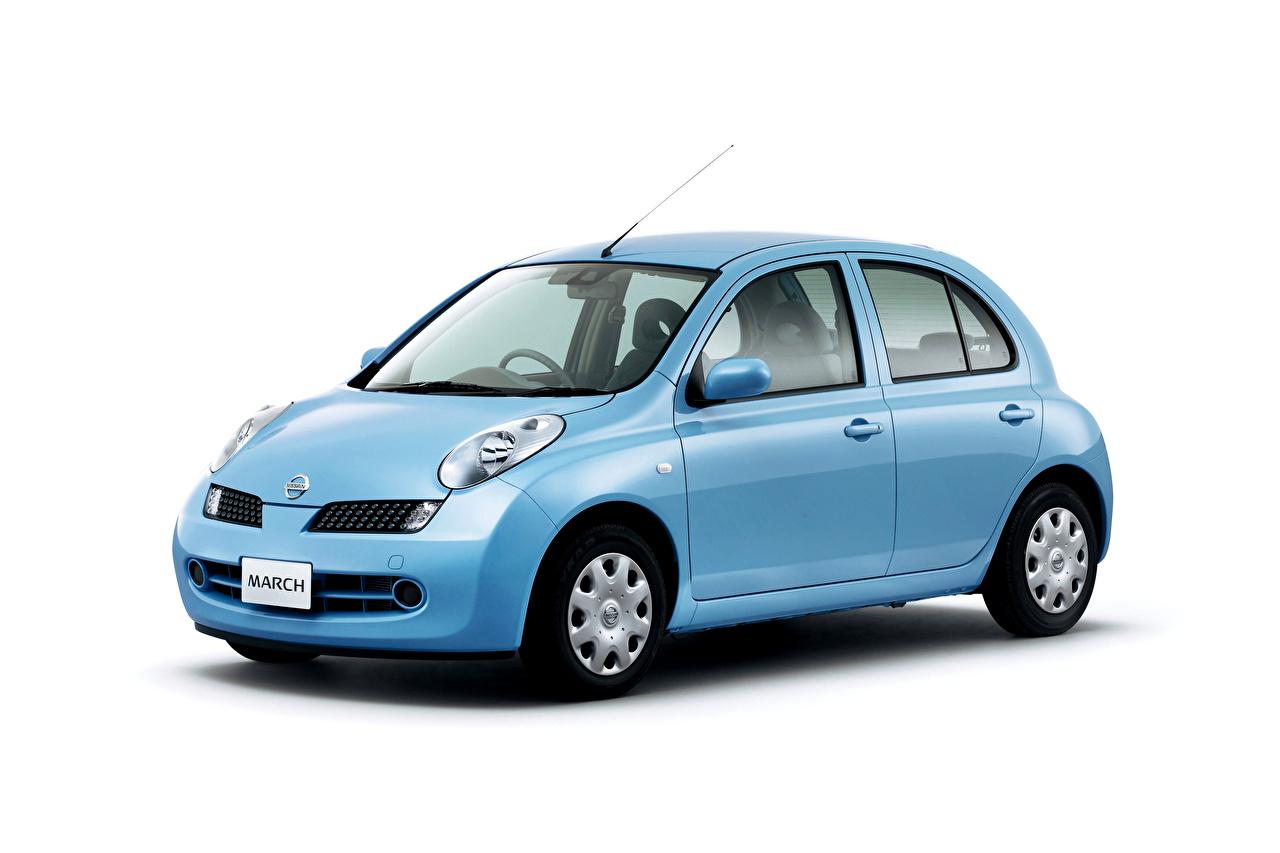 Foto Nissan Hellblau auto Metallisch Weißer hintergrund Autos automobil