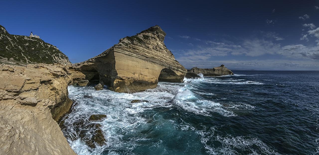 Desktop Wallpapers France Capu Partusatu Corsica Mediterranean Sea Cliff Nature Sky Coast Crag Rock