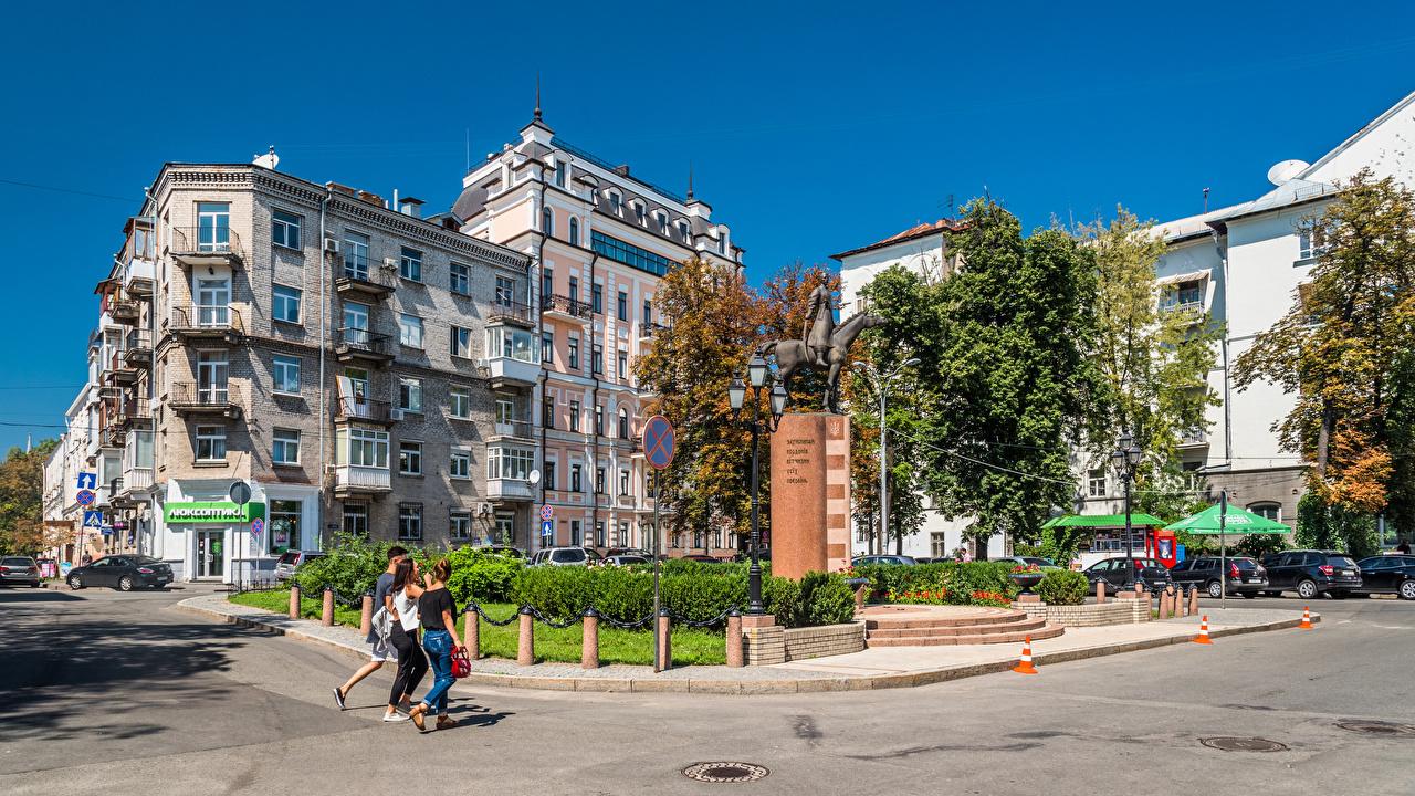 Pictures Kiev Ukraine Monuments People Cities Building Houses