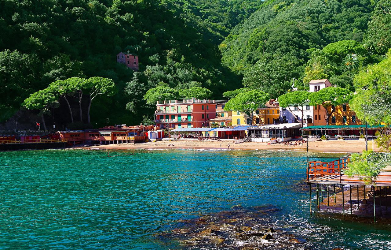 Desktop Wallpapers Liguria Italy Portofino river Cities Building Rivers Houses