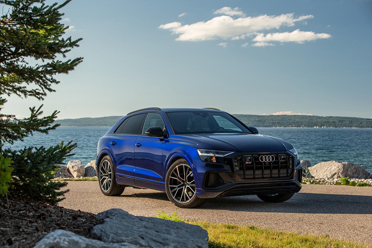 Desktop Hintergrundbilder Audi Softroader SQ8 TFSI, North America, 2020 Blau auto Metallisch Crossover Autos automobil
