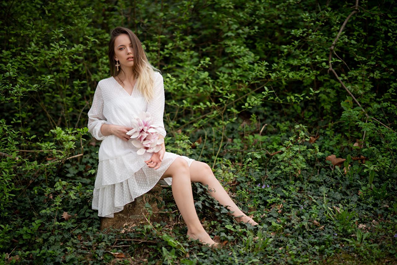 Lidia Vestido Sentado Contacto visual mujer joven, mujeres jóvenes, sentada Chicas