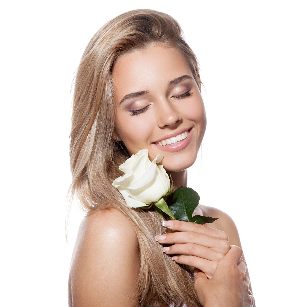 Pictures Blonde girl Smile sweet rose Hair female Flowers White background Cute pretty lovely Roses Girls young woman flower