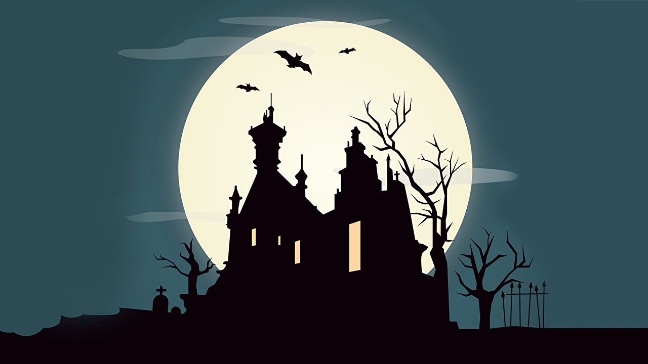 Desktop Wallpapers Bats castle Moon Vector Graphics Castles