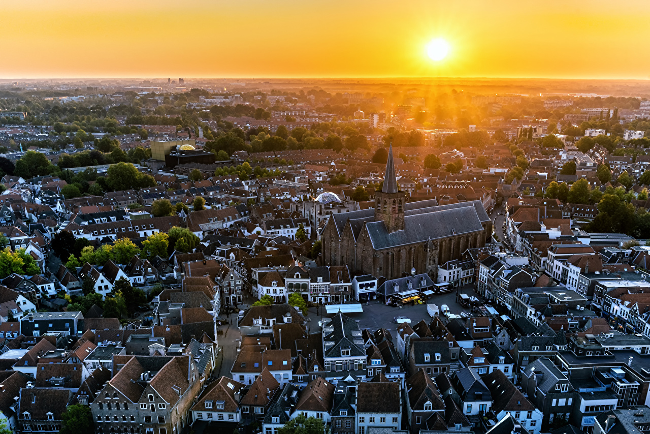 Images Church Netherlands Amerfoort Sun Morning sunrise and sunset From above Houses Cities Sunrises and sunsets Building