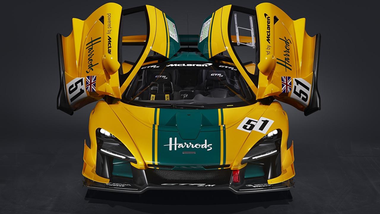 Desktop Hintergrundbilder McLaren Offene Tür Senna GTR LM, 2020 Coupe Gelb auto Autos automobil