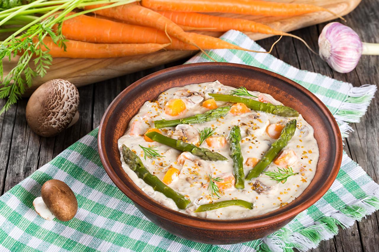 Picture Asparagus Mushrooms Food Plate Porridge