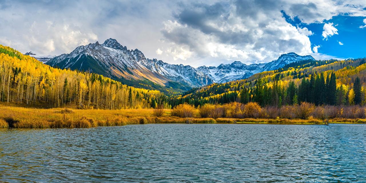Fotos USA Panoramafotografie Mount Sneffels Berg Natur Herbst See Wolke Vereinigte Staaten Panorama Gebirge