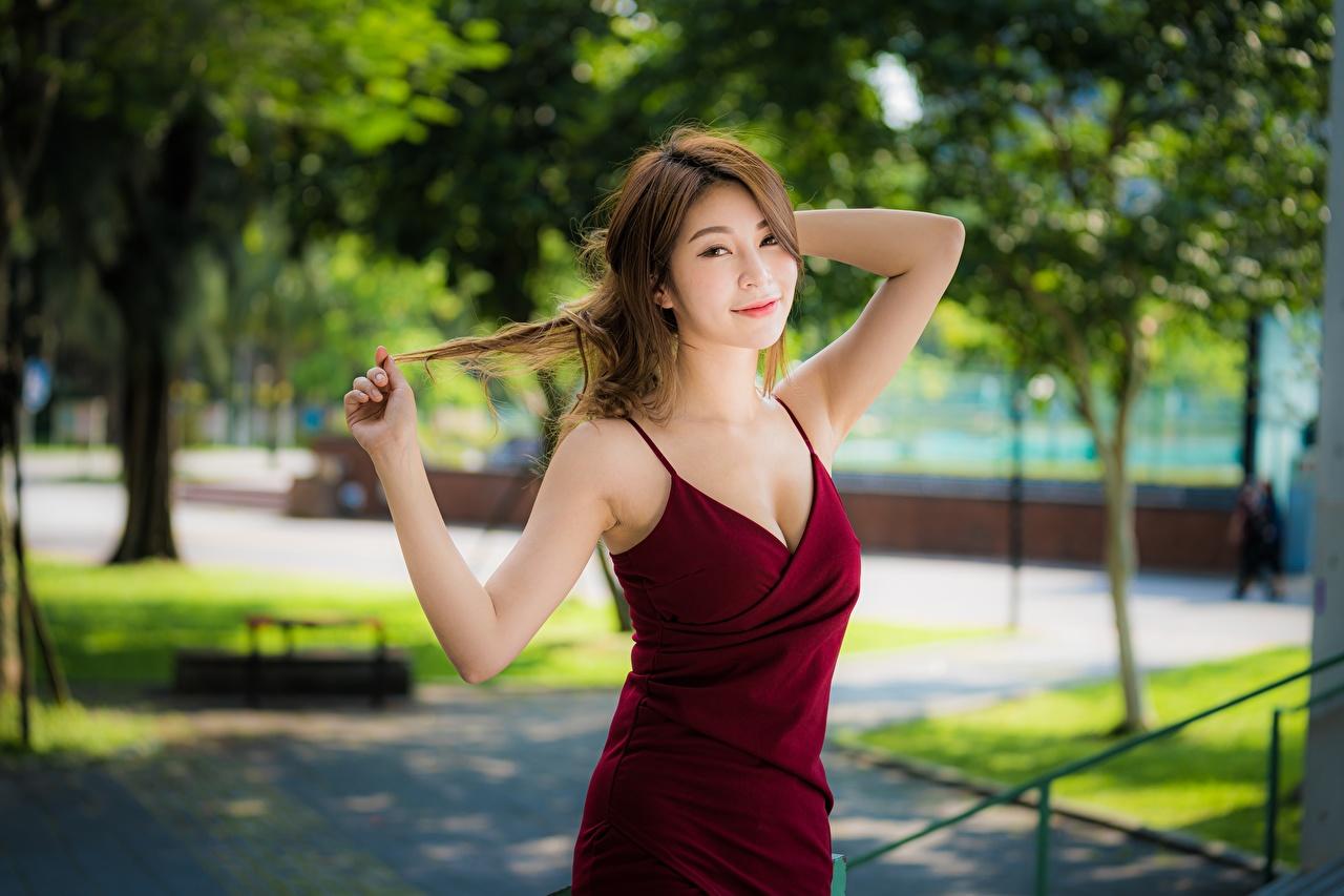 Fondos De Pantalla Asiático Pose Mano Vestido Cabello