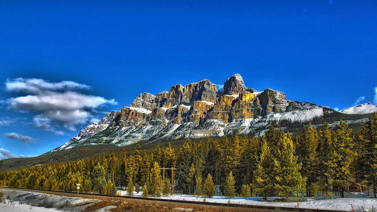 Bilder von Kanada Castle Mountain Alberta Natur Felsen Gebirge Wald Himmel Landschaftsfotografie Berg Wälder