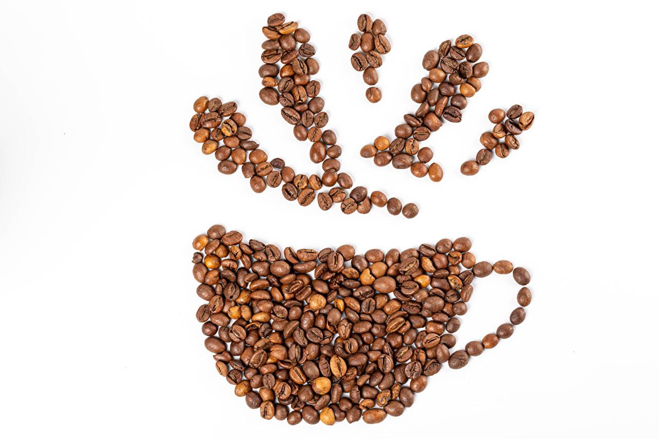 Afbeelding Koffie Graan Voedsel Een kopje Witte achtergrond Ontwerp spijs