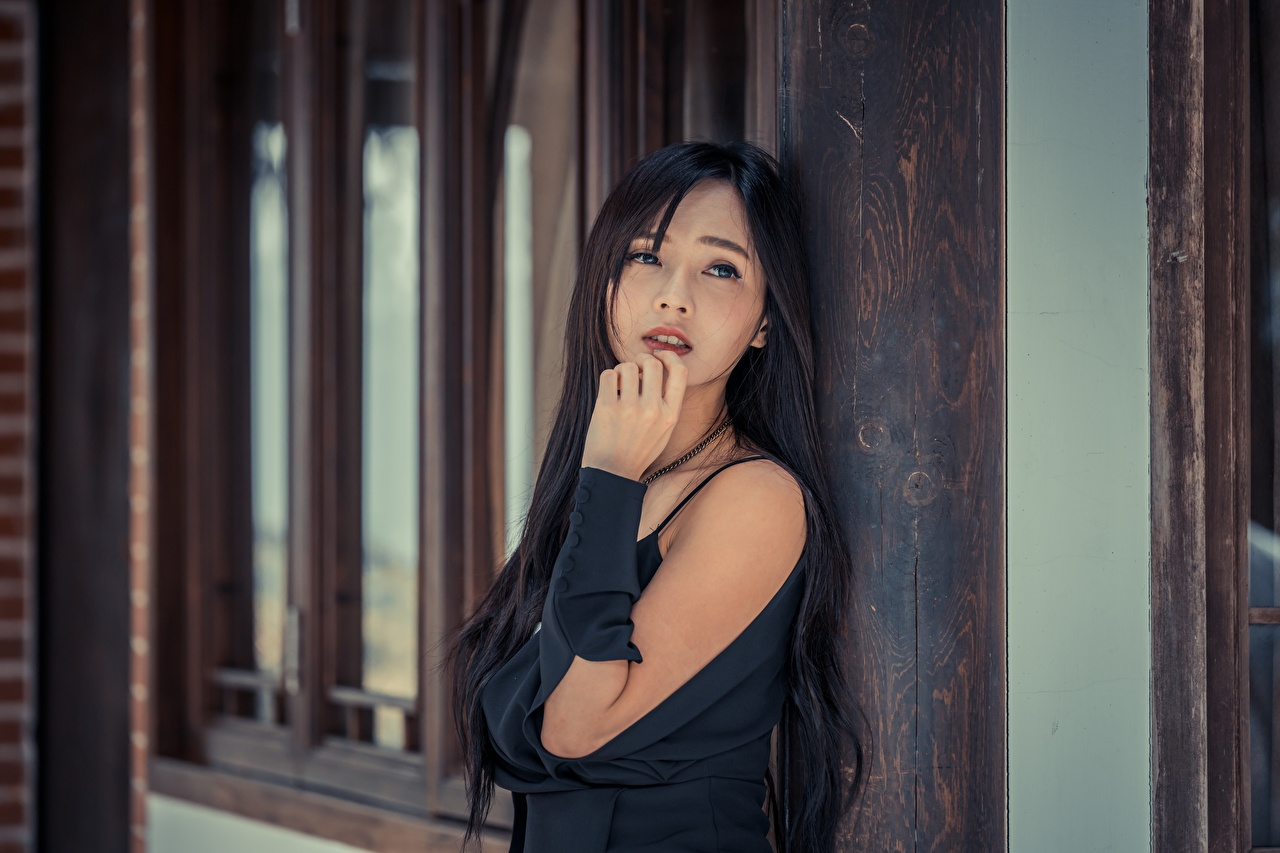 Image Brunette girl blurred background female Asiatic Hands Glance Bokeh Girls young woman Asian Staring