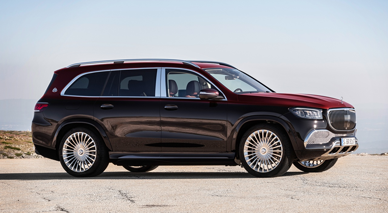 Pictures Maybach Mercedes-Benz SUV GLS 600, 4MATIC, 2020 maroon Side Cars Sport utility vehicle dark red burgundy Wine color auto automobile