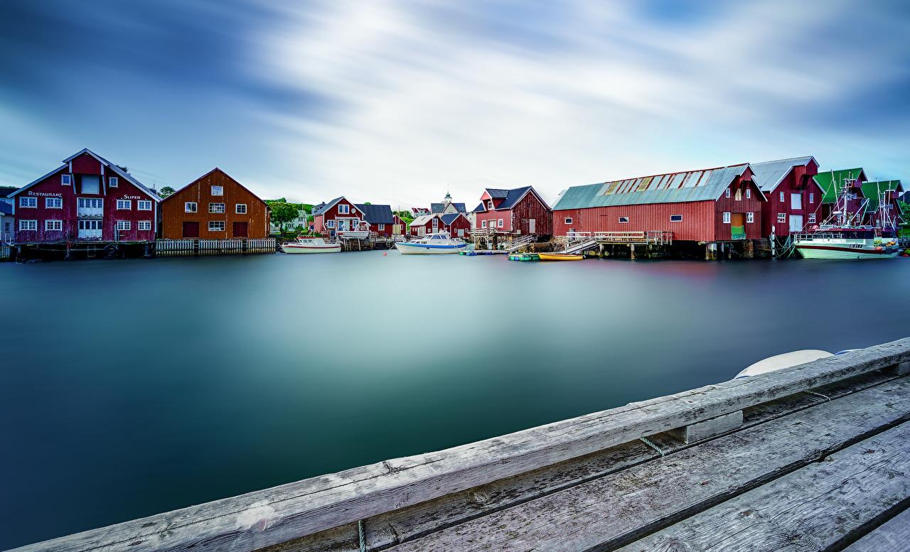 Noruega Lofoten Casa Atracadouros Baía Edifício, Píer Cidades