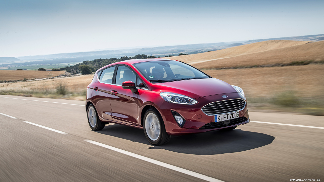 Desktop Wallpapers Ford Fiesta hatchback 2018 Red Motion Cars moving riding driving at speed auto automobile