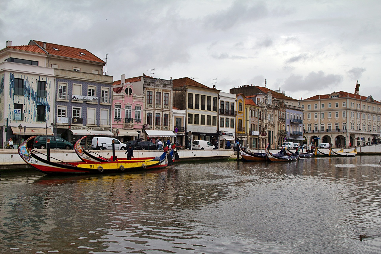 Picture Portugal Aveiro Canal Boats Cities Building Houses