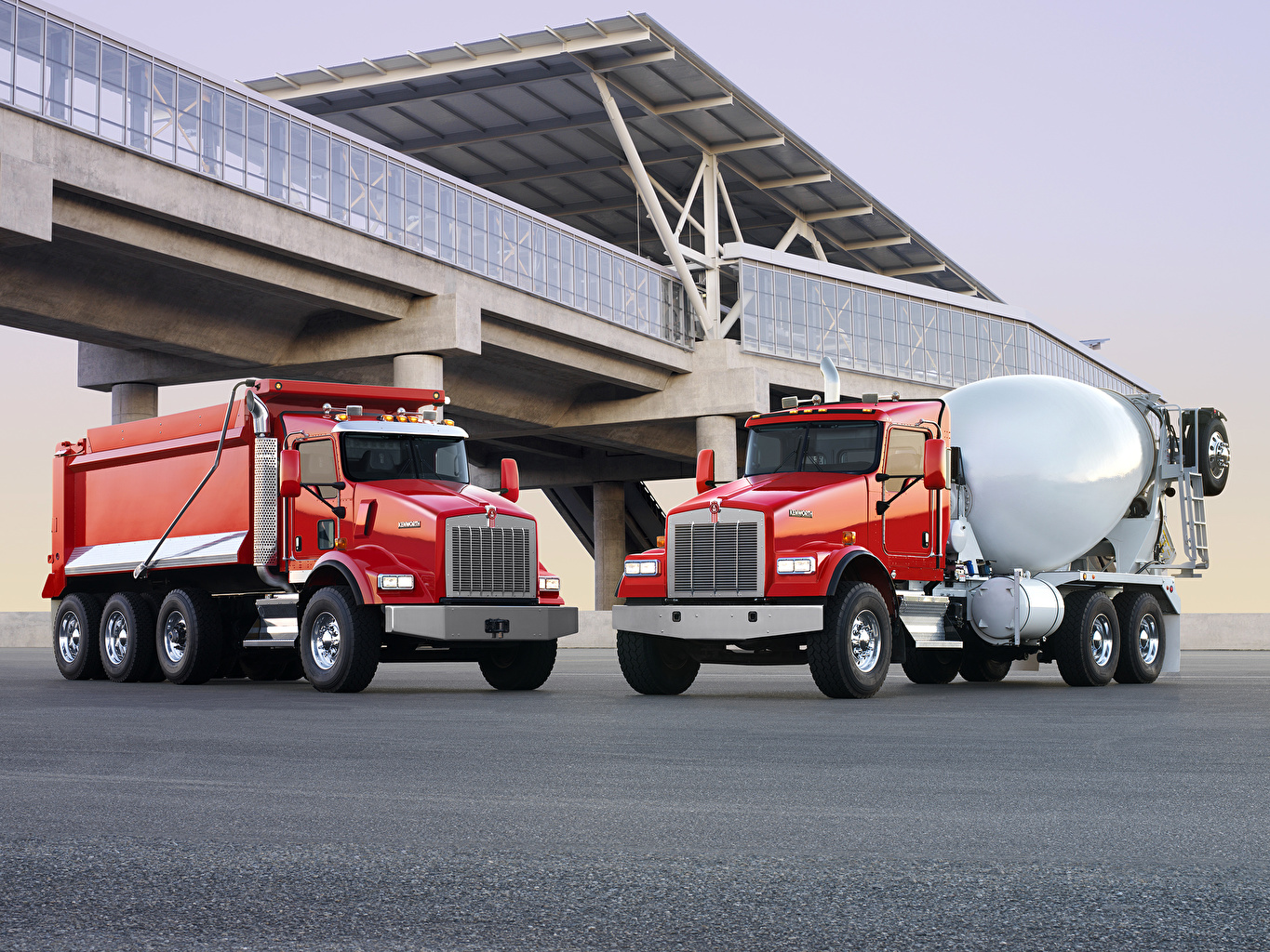 Picture lorry Kenworth T800 Two Red Cars Metallic Trucks 2 auto automobile