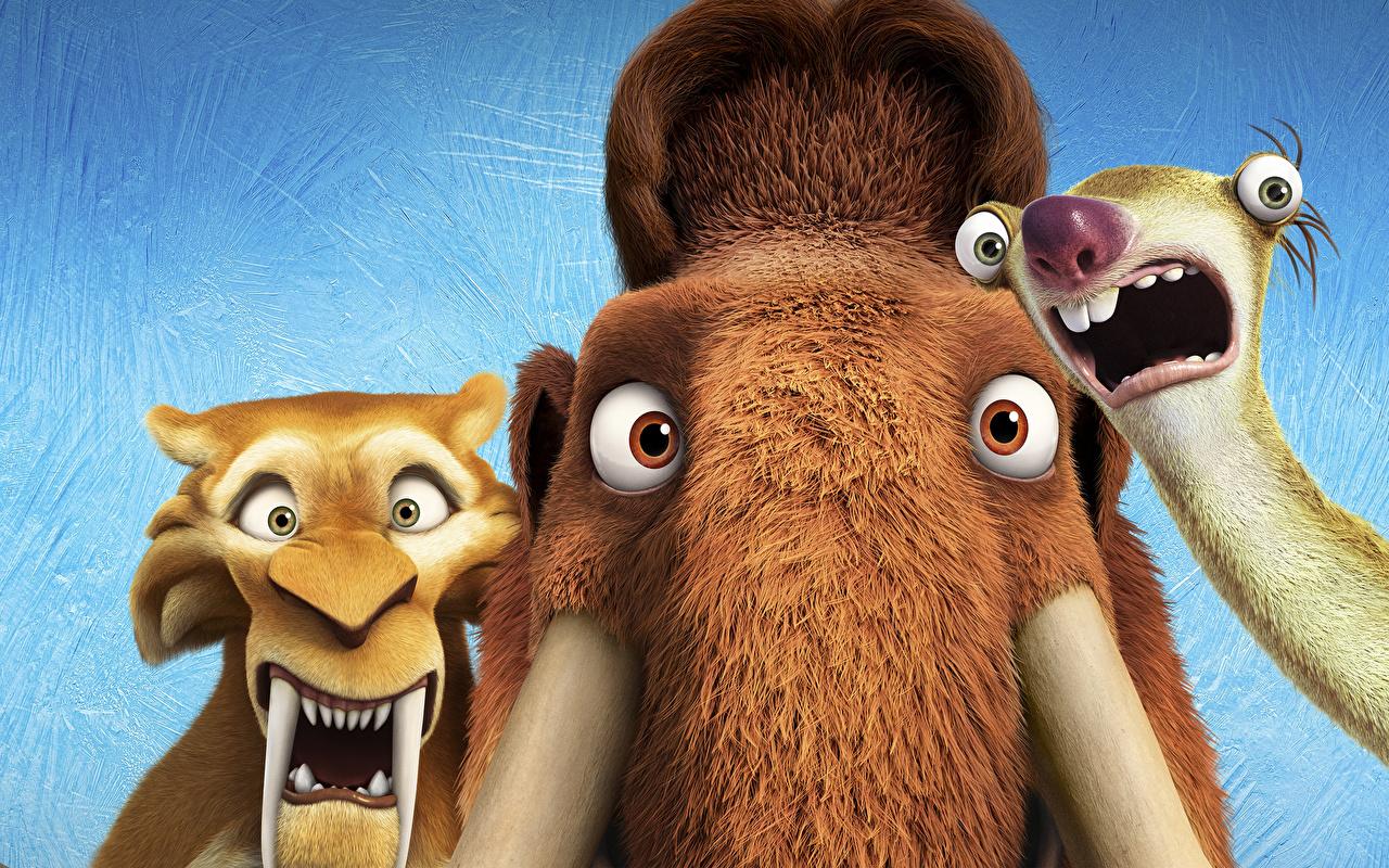 Hintergrundbilder Ice Age – Kollision voraus! Mammute Diego, Manny, Sid Animationsfilm 1280x800 Zeichentrickfilm