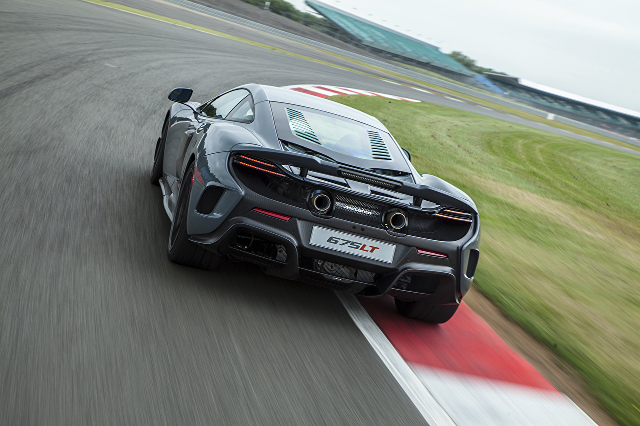 Photos McLaren 2015 675LT US-spec driving Back view automobile moving riding Motion at speed Cars auto
