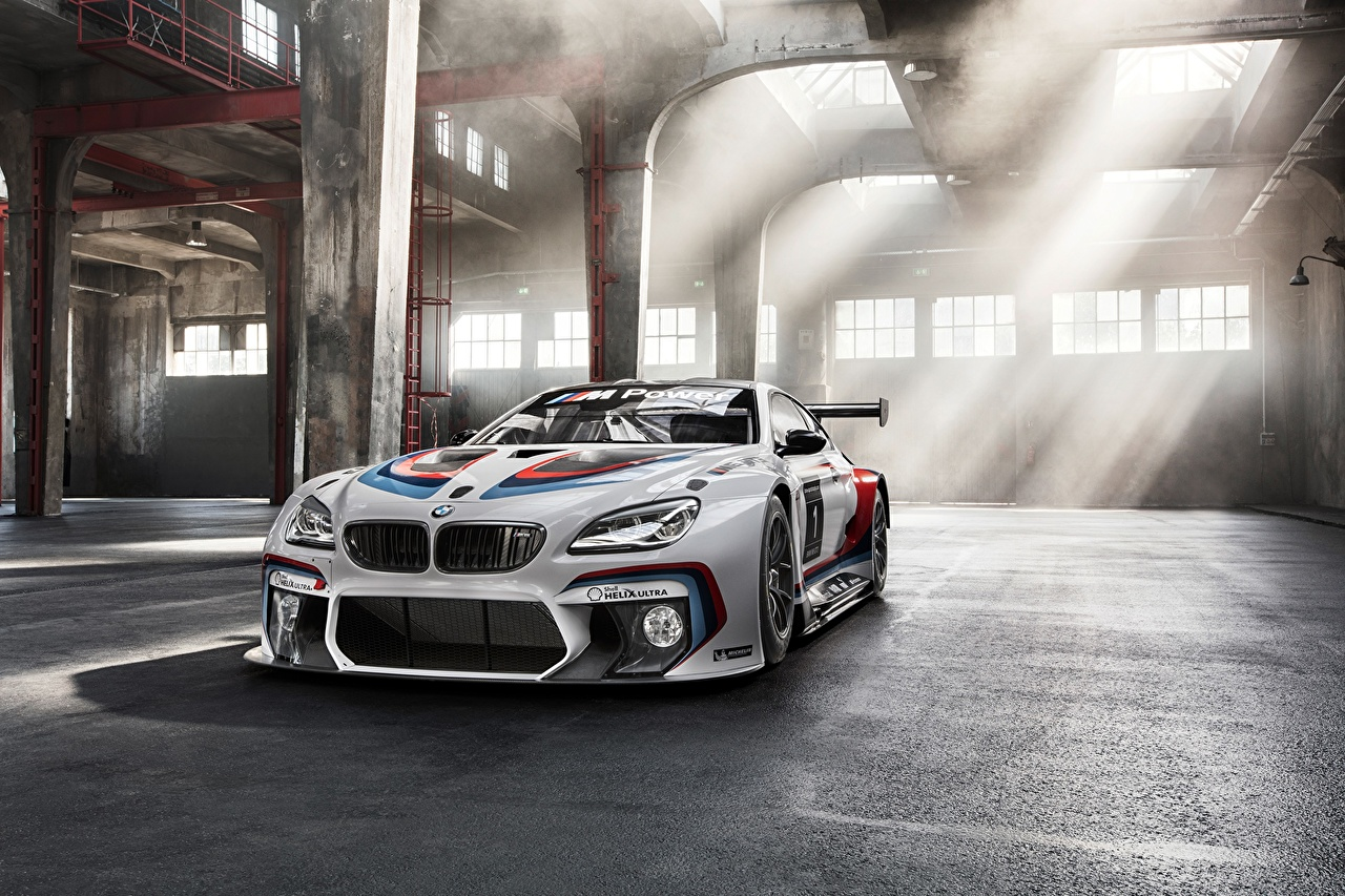 Photos Rays of light BMW M6 GT3 Competition Edition White Cars auto automobile