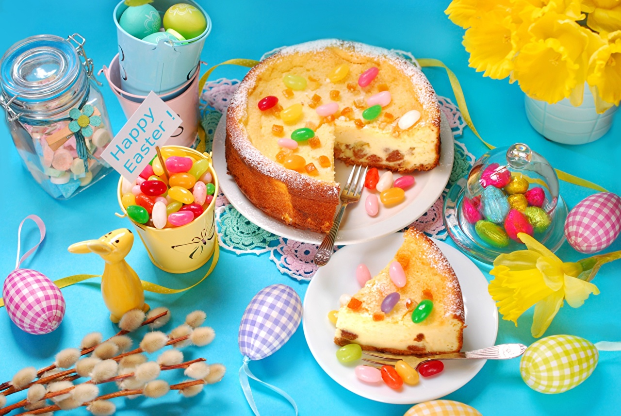 Image Pie Easter Eggs Candy pieces Food Sweets egg Piece confectionery