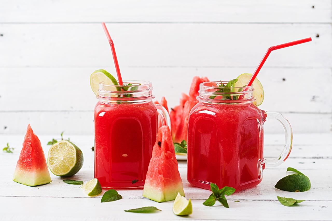 Fotos von Smoothie Limette Minzen Stück Weckglas Wassermelonen das Essen stücke Einweckglas Lebensmittel