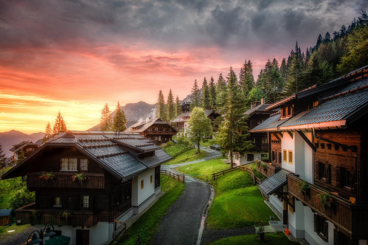 Fotos von Österreich Carinthia Natur Gebirge Morgen Haus Wolke Berg Gebäude