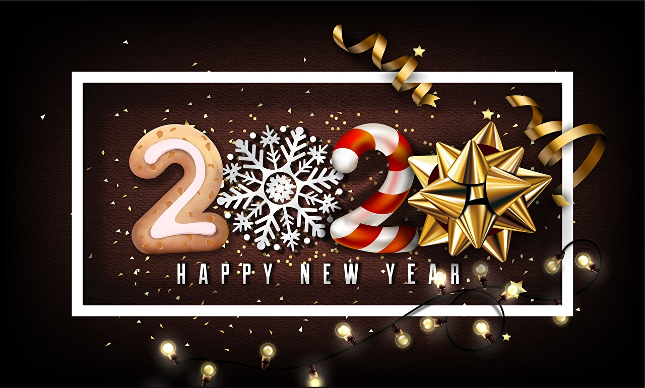 Wallpaper 2020 New year English Snowflakes lettering bow knot Fairy lights Christmas text Word - Lettering Bowknot